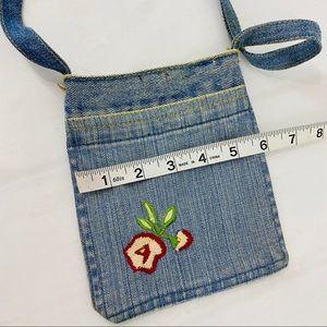 Vintage Bags - Vintage Mini Denim Purse Embroidered Flower